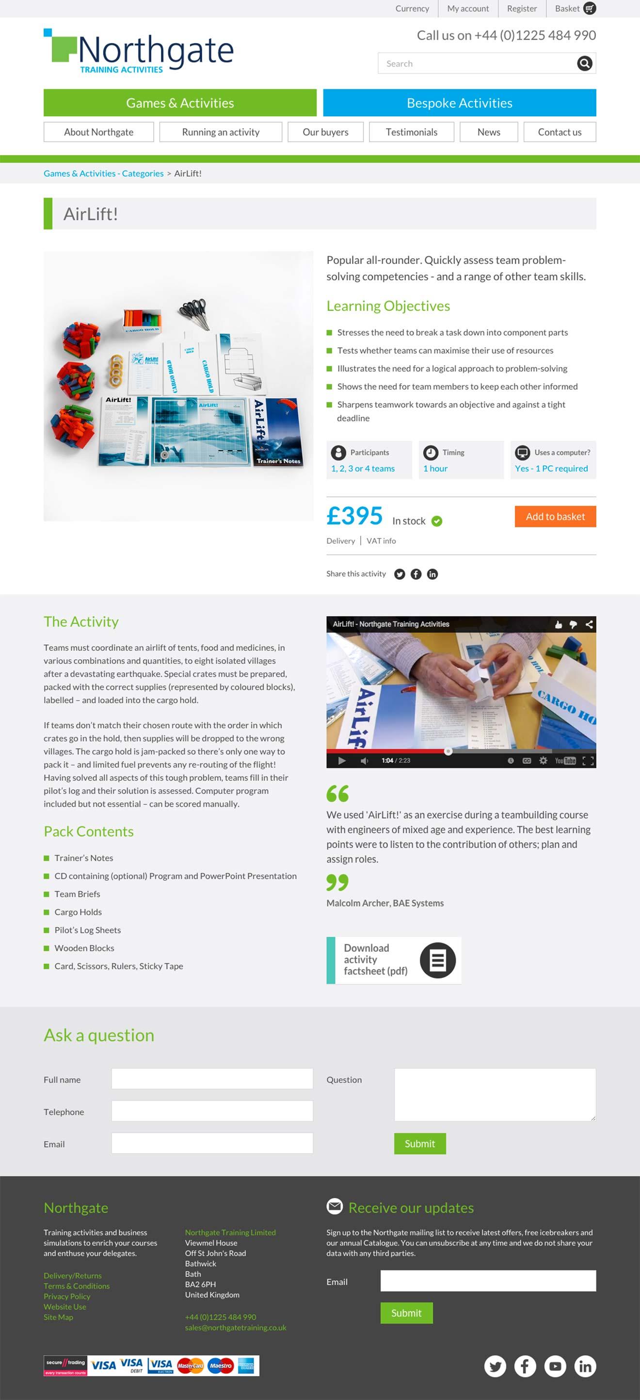 e-commerce development screenshot Northgate Training Bristol