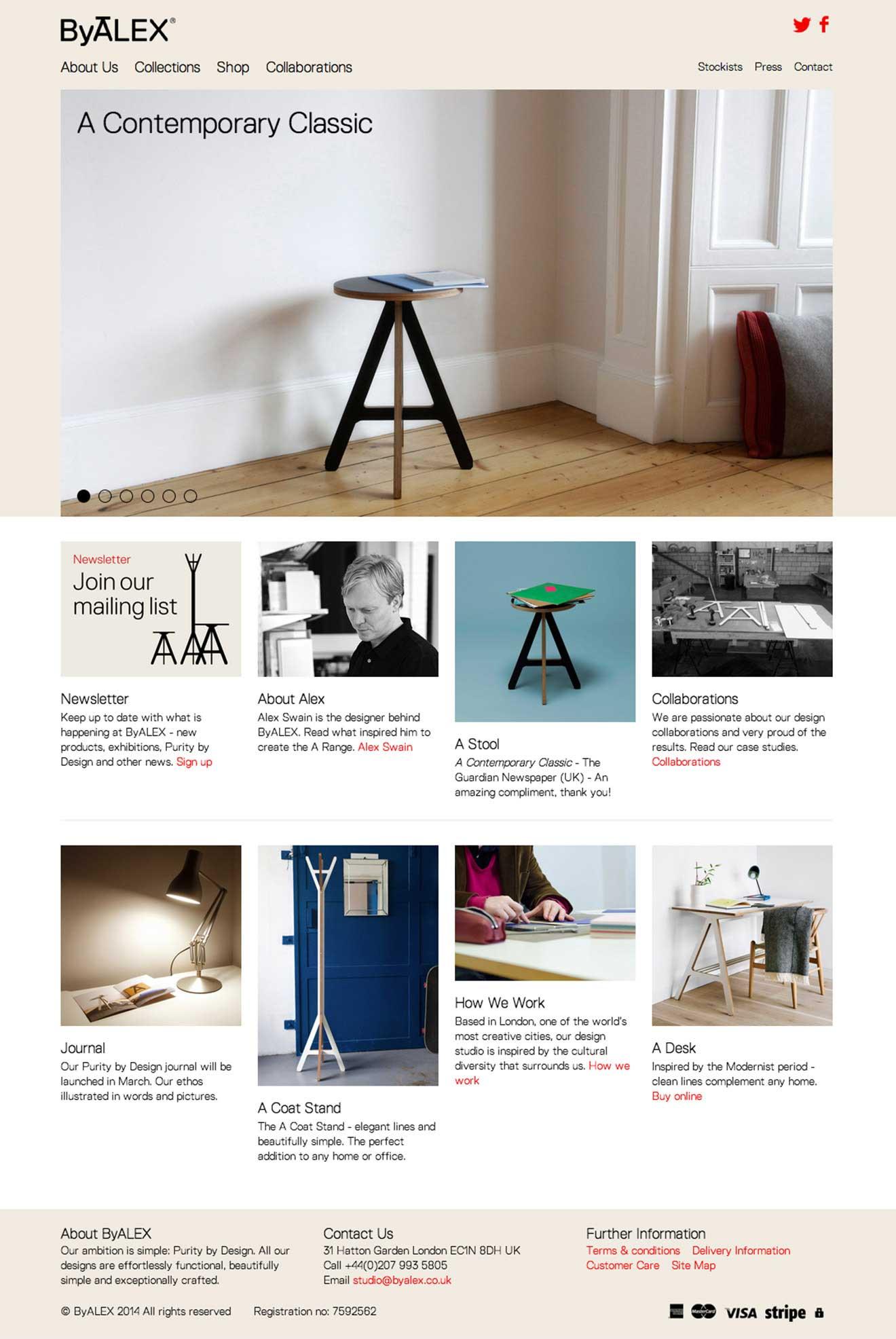 ByALEX furniture web development screenshot