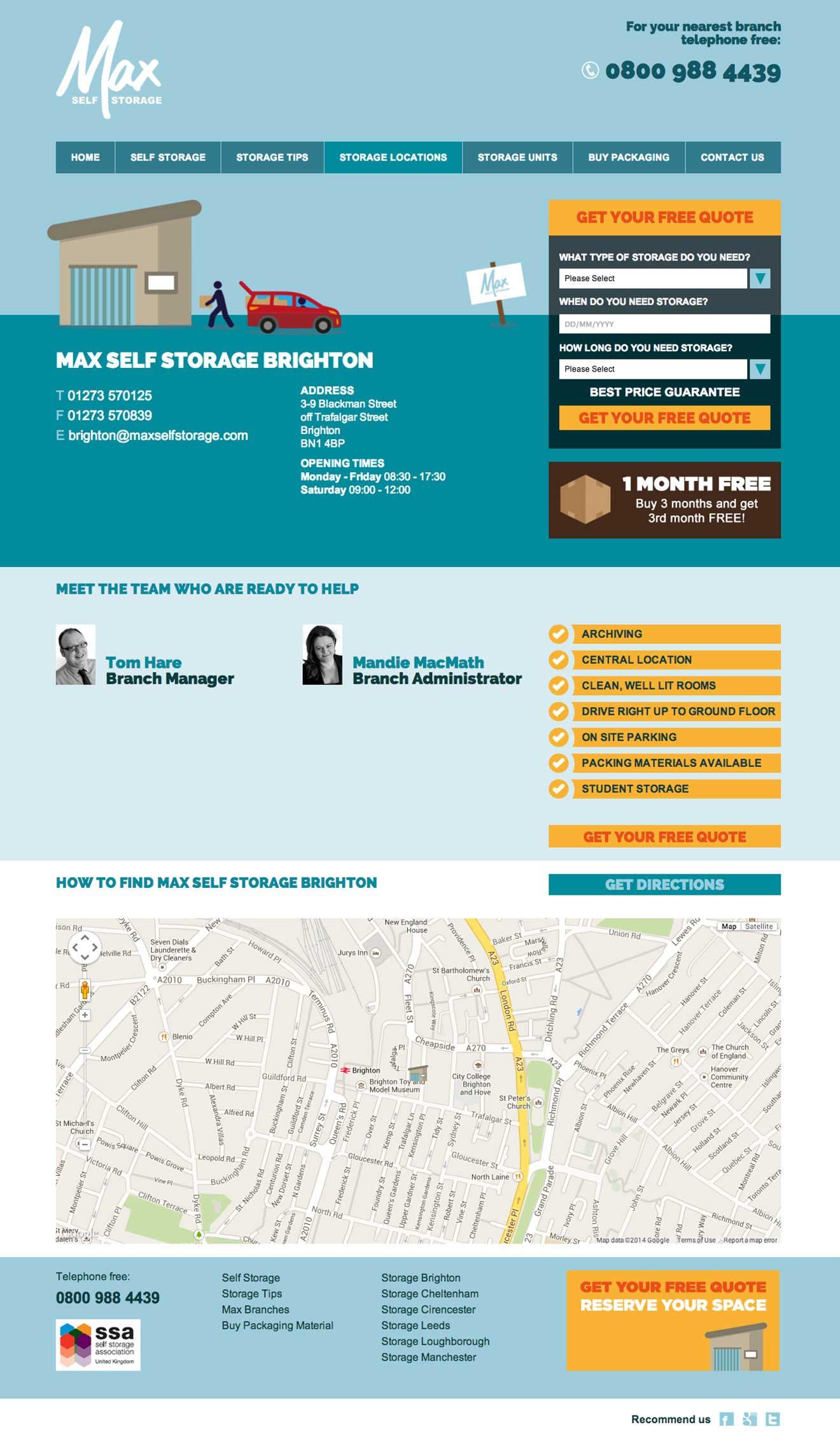 Max Self Storage codeigniter development Bristol screenshot