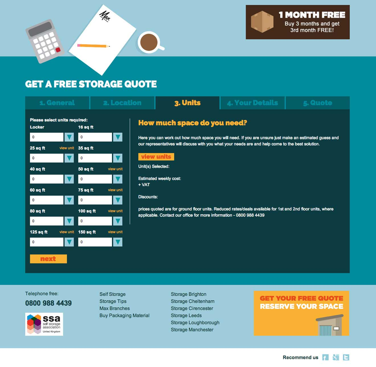 Max Self Storage web illustration screenshot