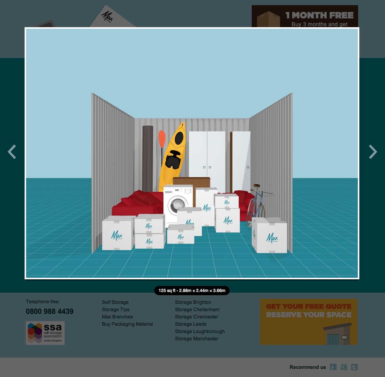 Max Self Storage interactive quote system screenshot