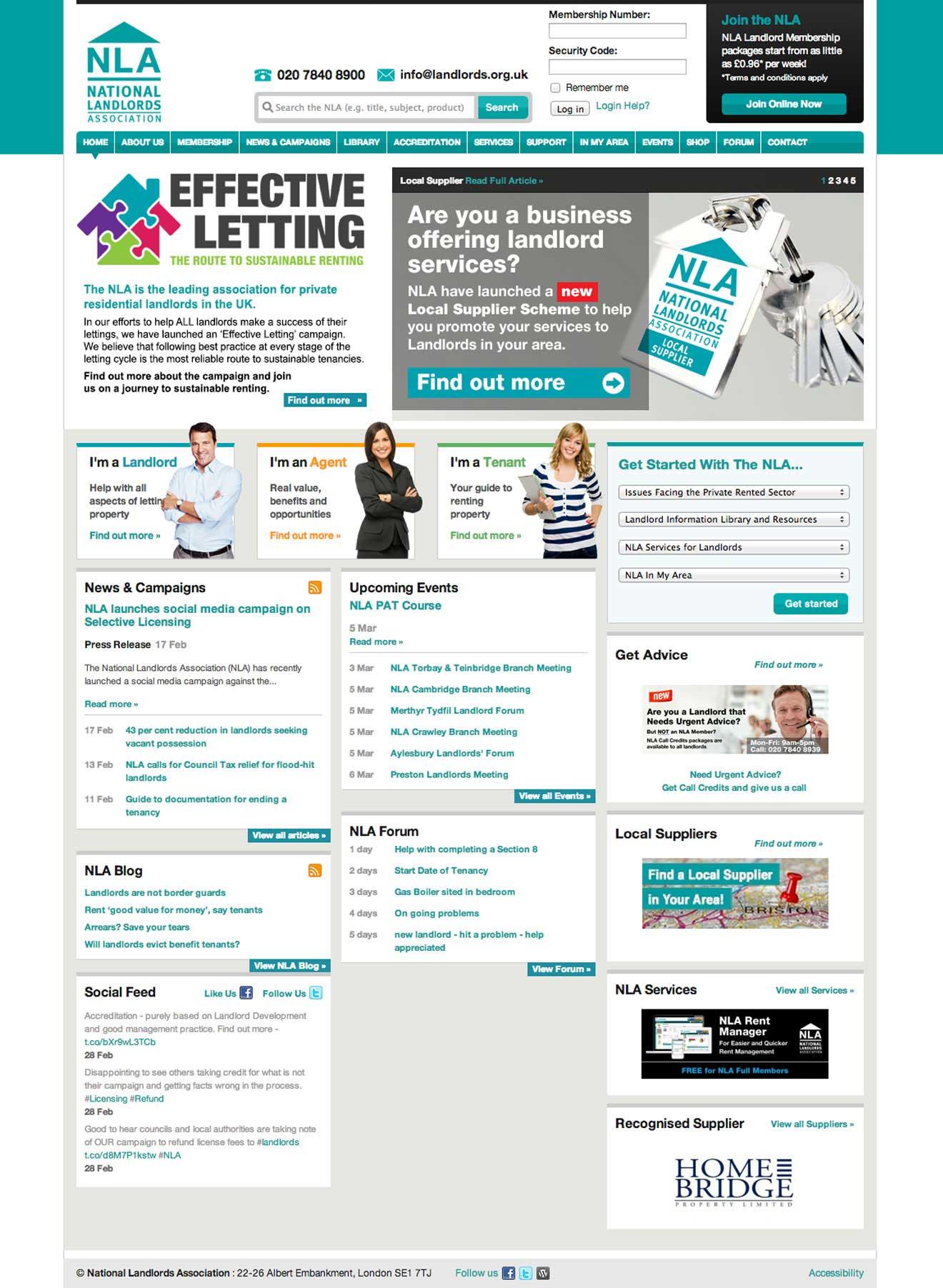 NLA website Drupal development Bristol Screenshot