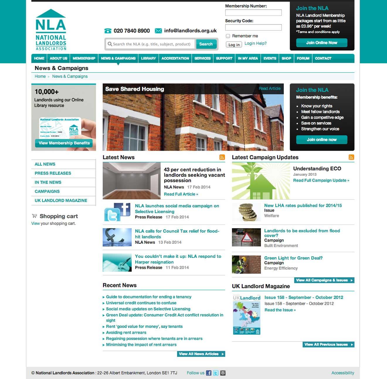 NLA website bespoke CMS development Bristol Screenshot