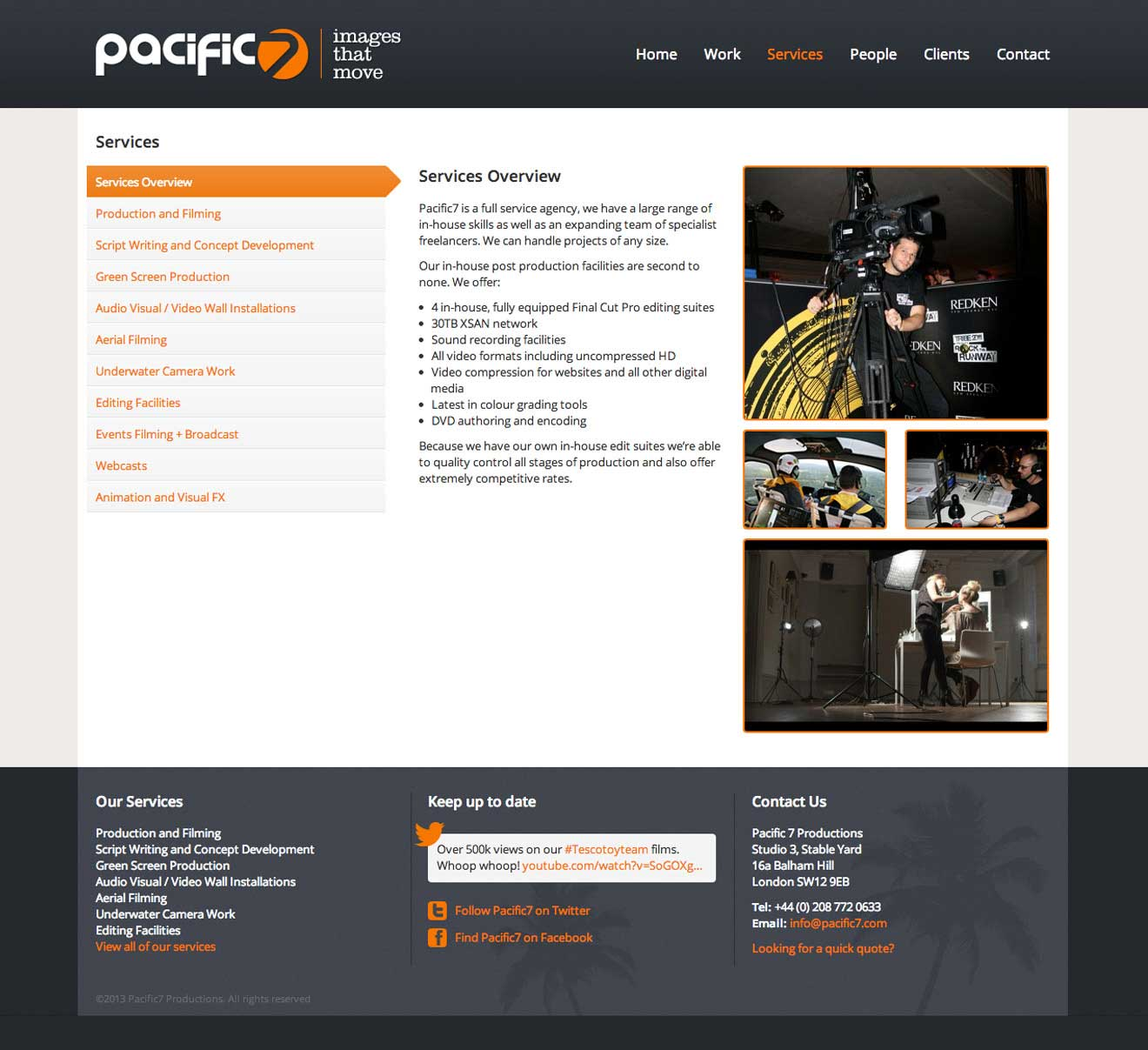 Pacific7 productions London CMS development screenshot