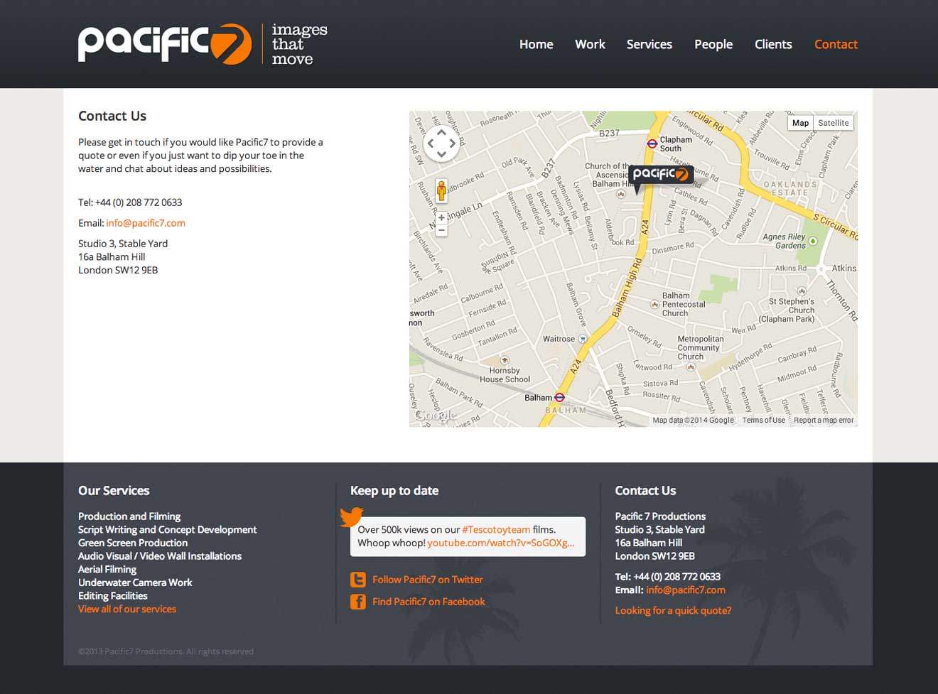 Pacific7 productions London website Design screenshot