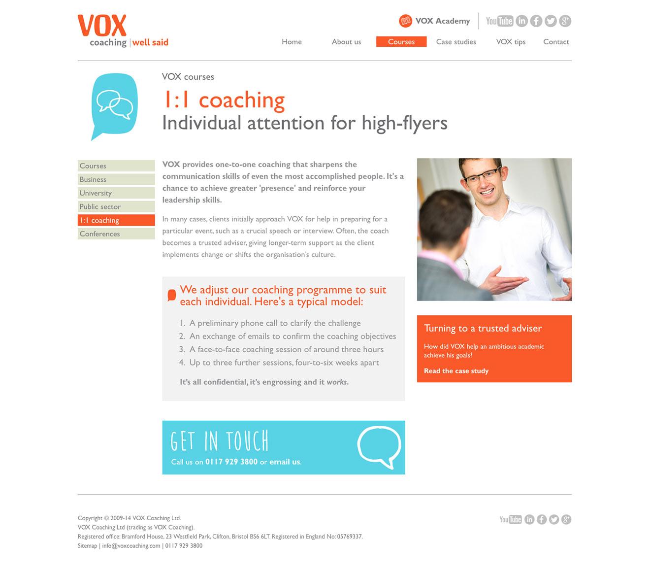 Codeiginiter CMS web development screenshot for Vox Coaching