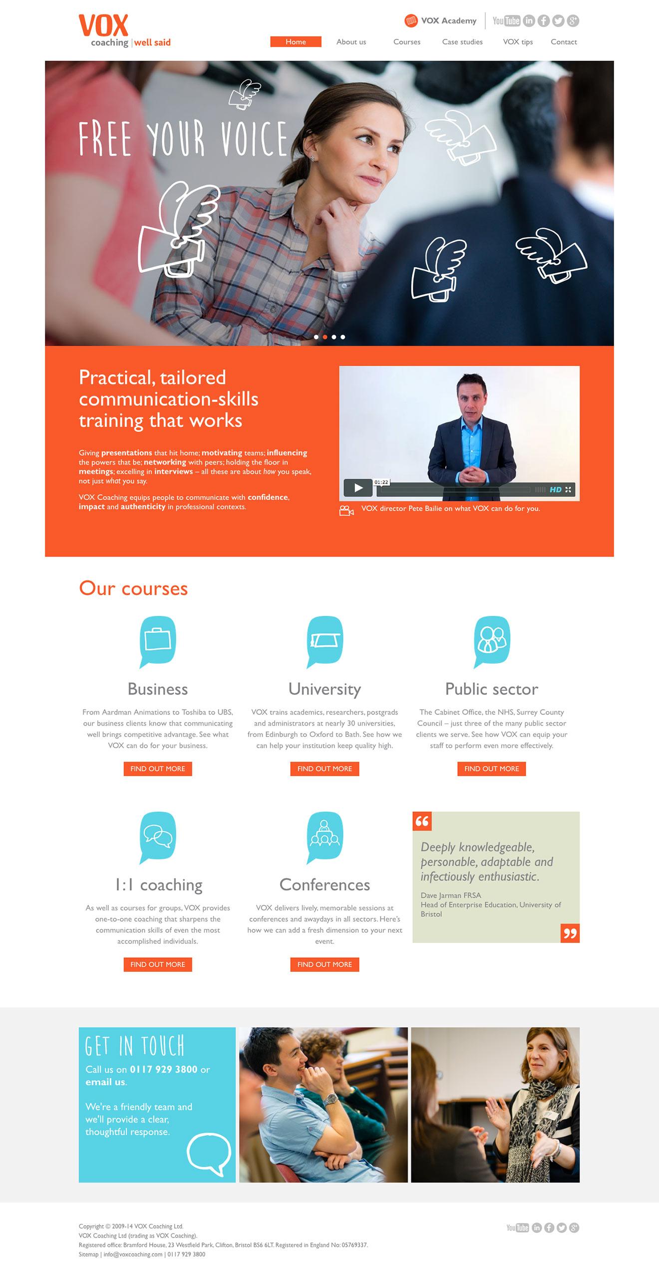 Bristol branding and web design screenshot for Vox Coaching