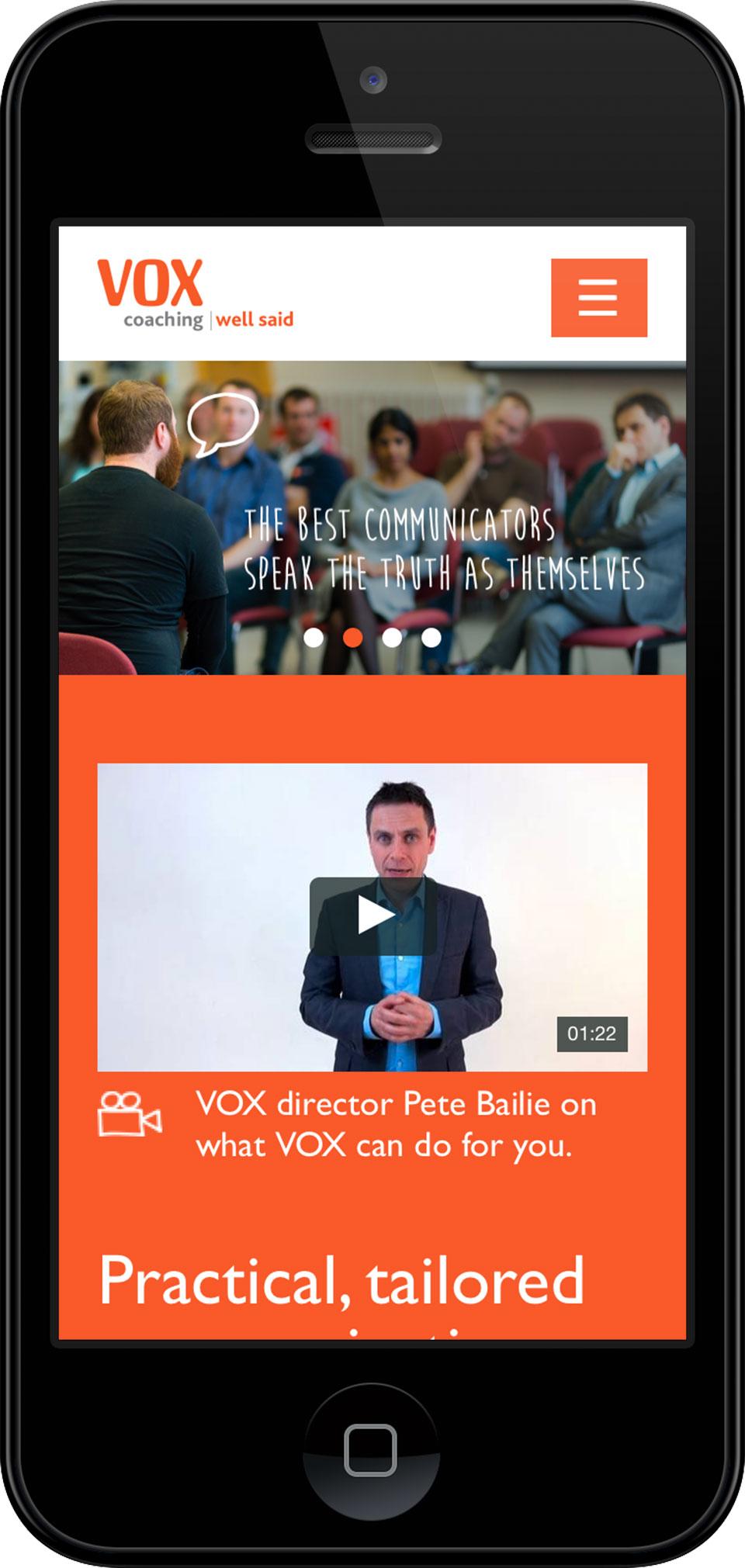 Bristol mobile layout screenshot for Vox Coaching