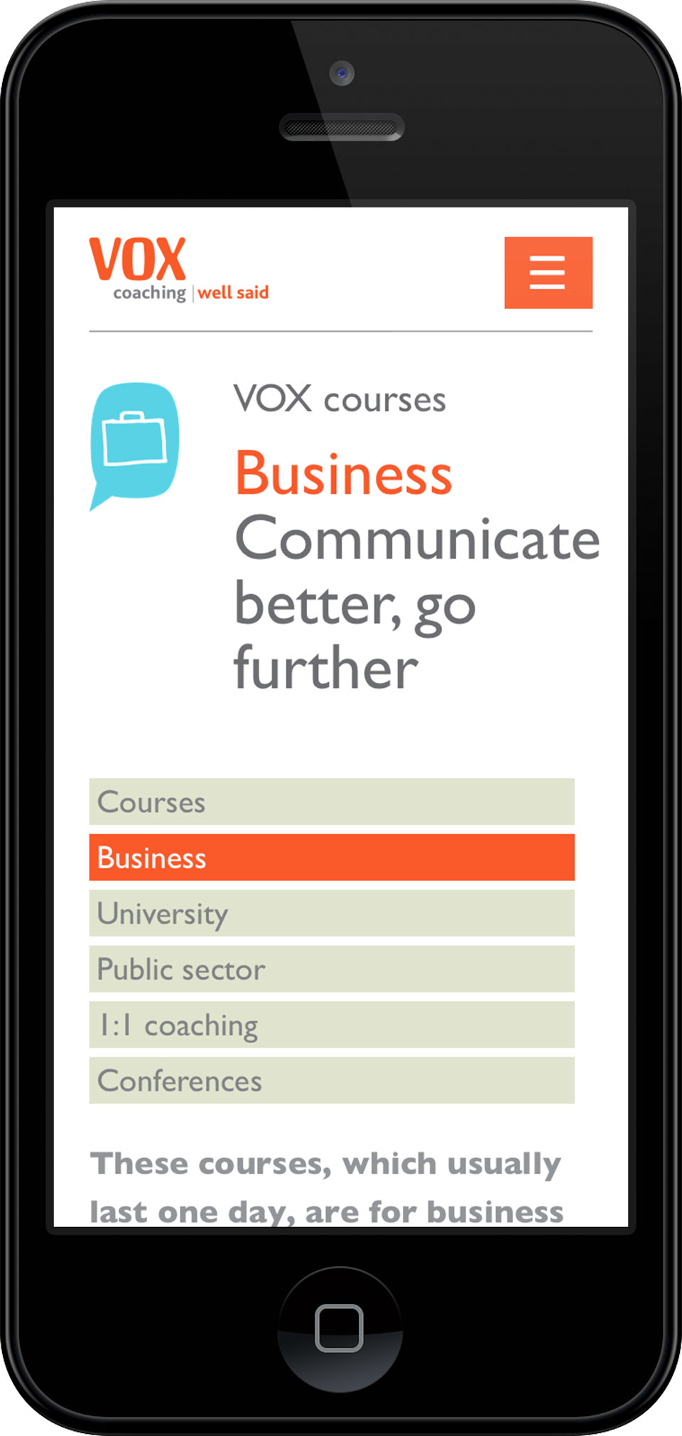 Bristol responsive web design screenshot for Vox Coaching