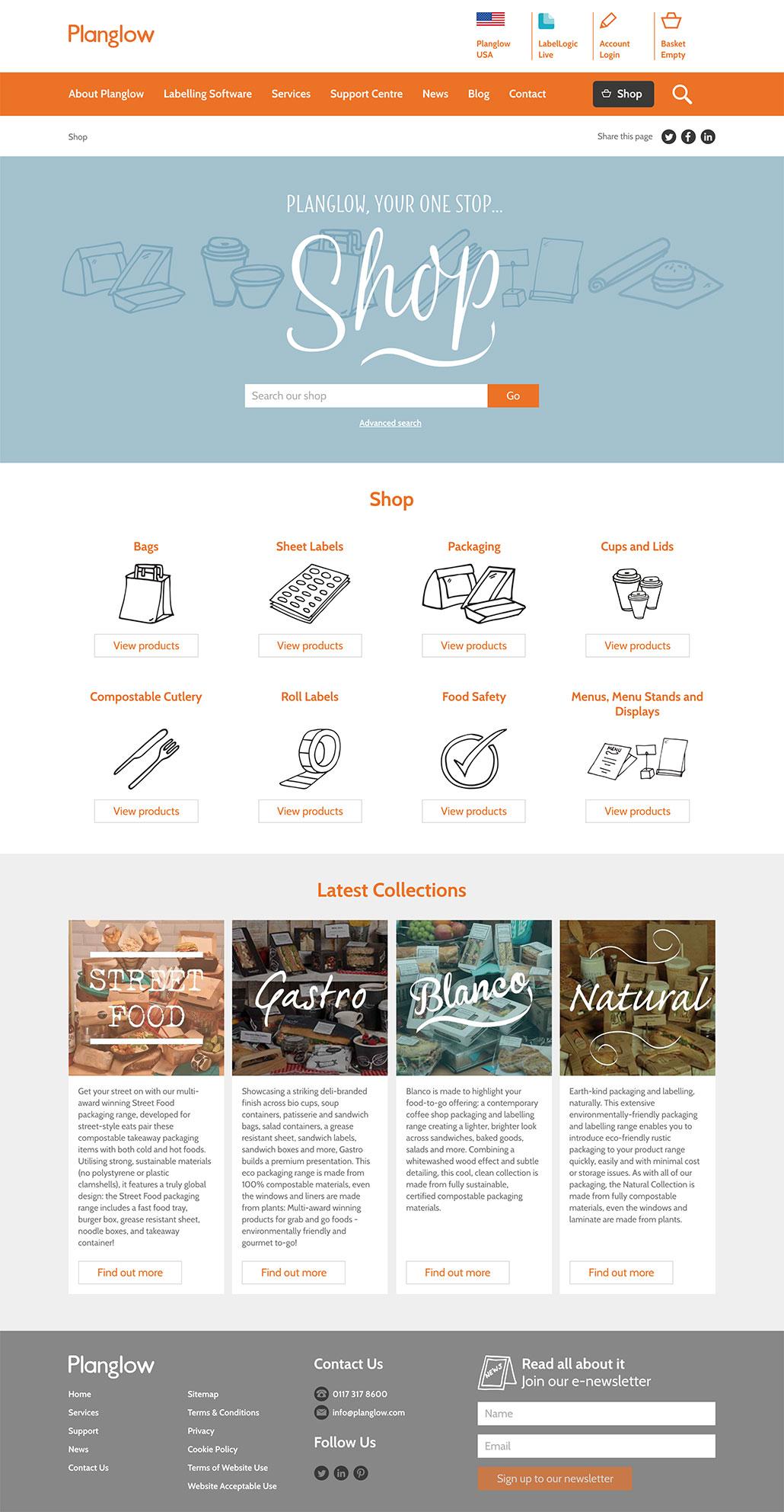 Planglow custom e-commerce website shop home screen 2