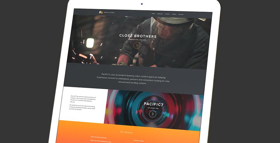 Portfiolio website development Pacific7 productions